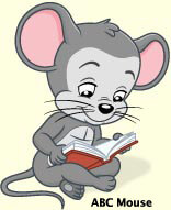 ABC mouse reading a book
